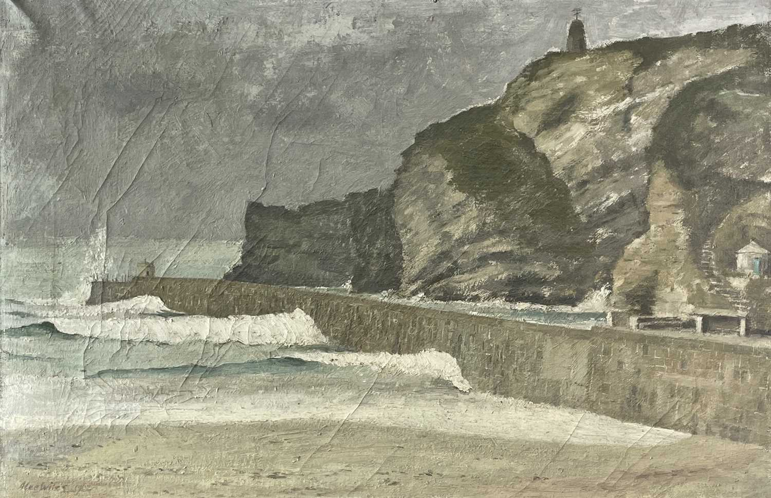 Lot 1036 - Alec WILES (1924) Portreath, The Harbour Wall...