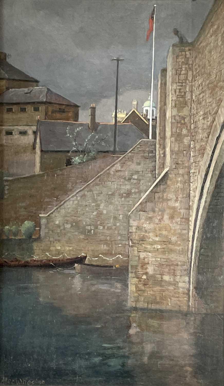 Lot 1039 - Alec WILES (1924) City Bridge Oil on board...