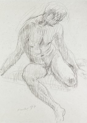 Lot 1042 - Alec WILES (1924) Seated Male Nude Charcoal...