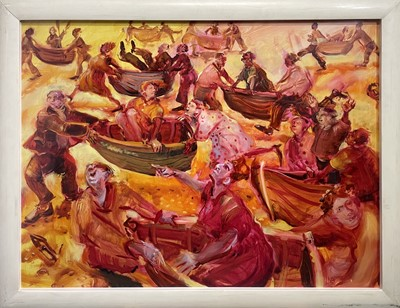 Lot 335 - Nicola BEALING (1963) The Boat Race Oil on...