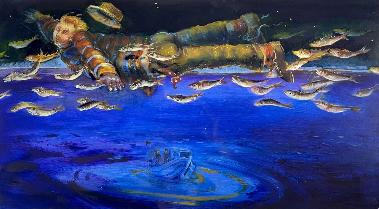 Lot 337 - Nicola BEALING (1963) The Flying Fisherman Oil...