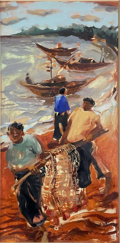 Lot 416 - Nicola BEALING (1963) Two Fishermen - North...