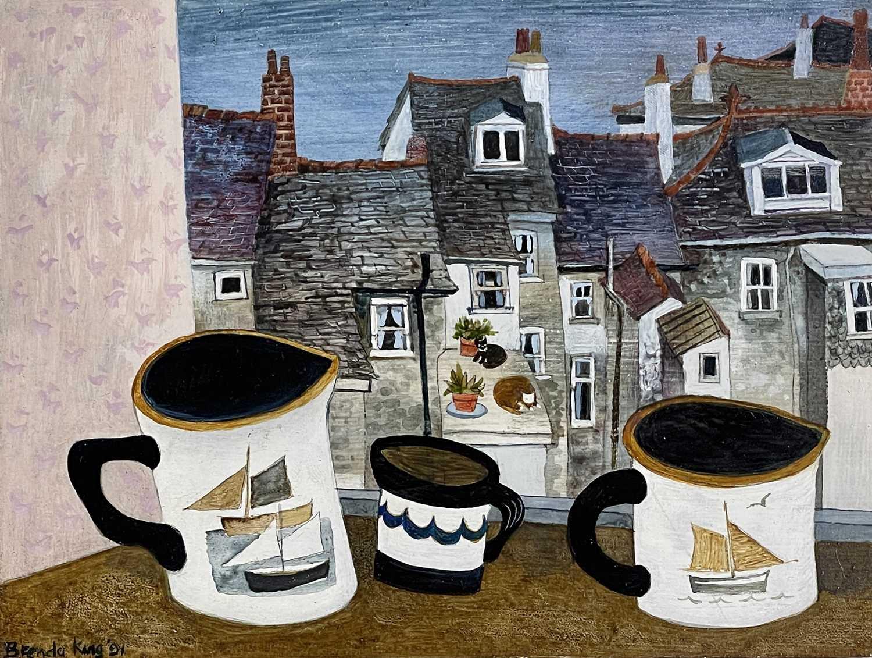 Lot 1 - Brenda KING (1934-2011) Two Cats at Porthmeor...