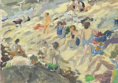 Lot 47 - John HARVEY (1935) Bathers on the Beach Oil on...
