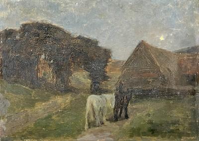 Lot 49 - Arthur TOMSON (1858-1905) Horses in a Moonlit...