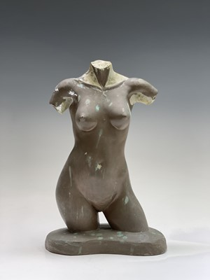 Lot 1059 - Alec WILES (1924) Female Torso Bronzed resin...