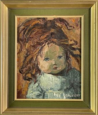 Lot 411 - Dennis GILBERT (1922) Victorian Doll Oil on...
