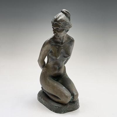 Lot 1073 - Alec WILES (1924) Kneeling Nude Bronzed resin...