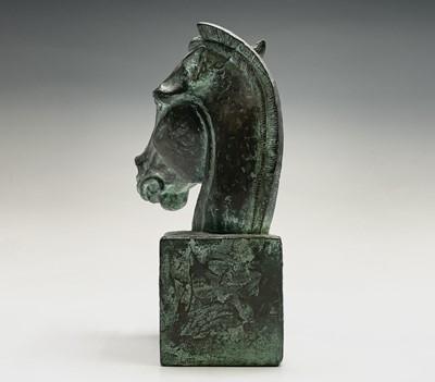 Lot 1091 - Alec WILES (1924) Horses Head Bronzed resin...