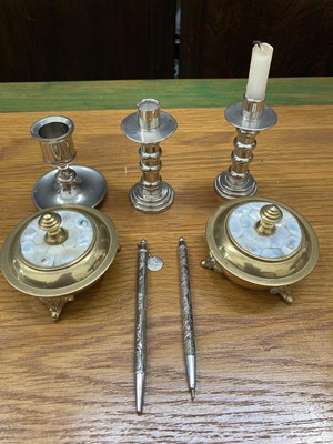 Lot 23 - A pair of brass holy communion wafer dishes...