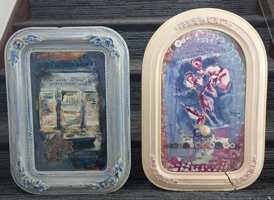 Lot 73 - Two mixed-media lightly abstract images on...
