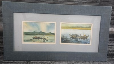 Lot 74 - Than AUNG? Two watercolours of possibly...