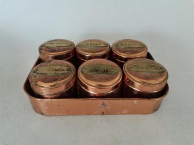 Lot 92 - Six copper herb shaker pots in a tray.