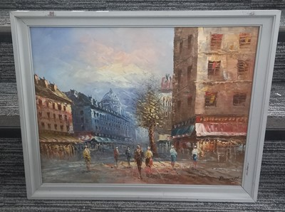 Lot 78 - A French impressionist street-scene painting...