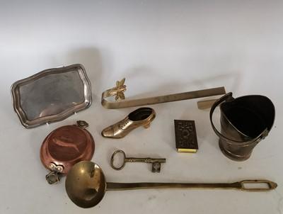 Lot 94 - A decorative brass matchbox holder, a small...