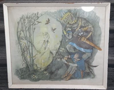 Lot 82 - An unsigned watercolour of a fairytale scene,...