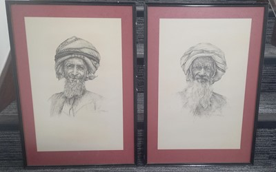 Lot 86 - Two hand-drawn ink portraits of Omani...