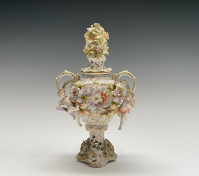Lot 818 - An early 20th century Dresden porcelain twin...