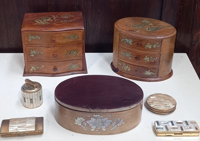 Lot 64 - Two wooden jewellery cabinets, both with...