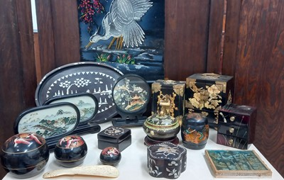 Lot 63 - Two Chinese jewellery cabinets, a tray and...