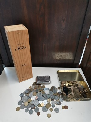 Lot 53 - A variety of coins, a cigarette case, 'Comte...