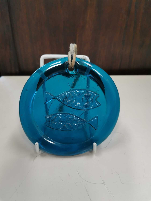 Lot 8 - An 'Ekenas Glasbruk' blue glass Pisces...