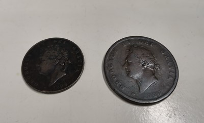 Lot 25 - A George IV 1826 penny and half penny