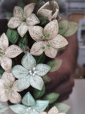 Lot 30 - A floral needlework shadow box, 28x23cm.