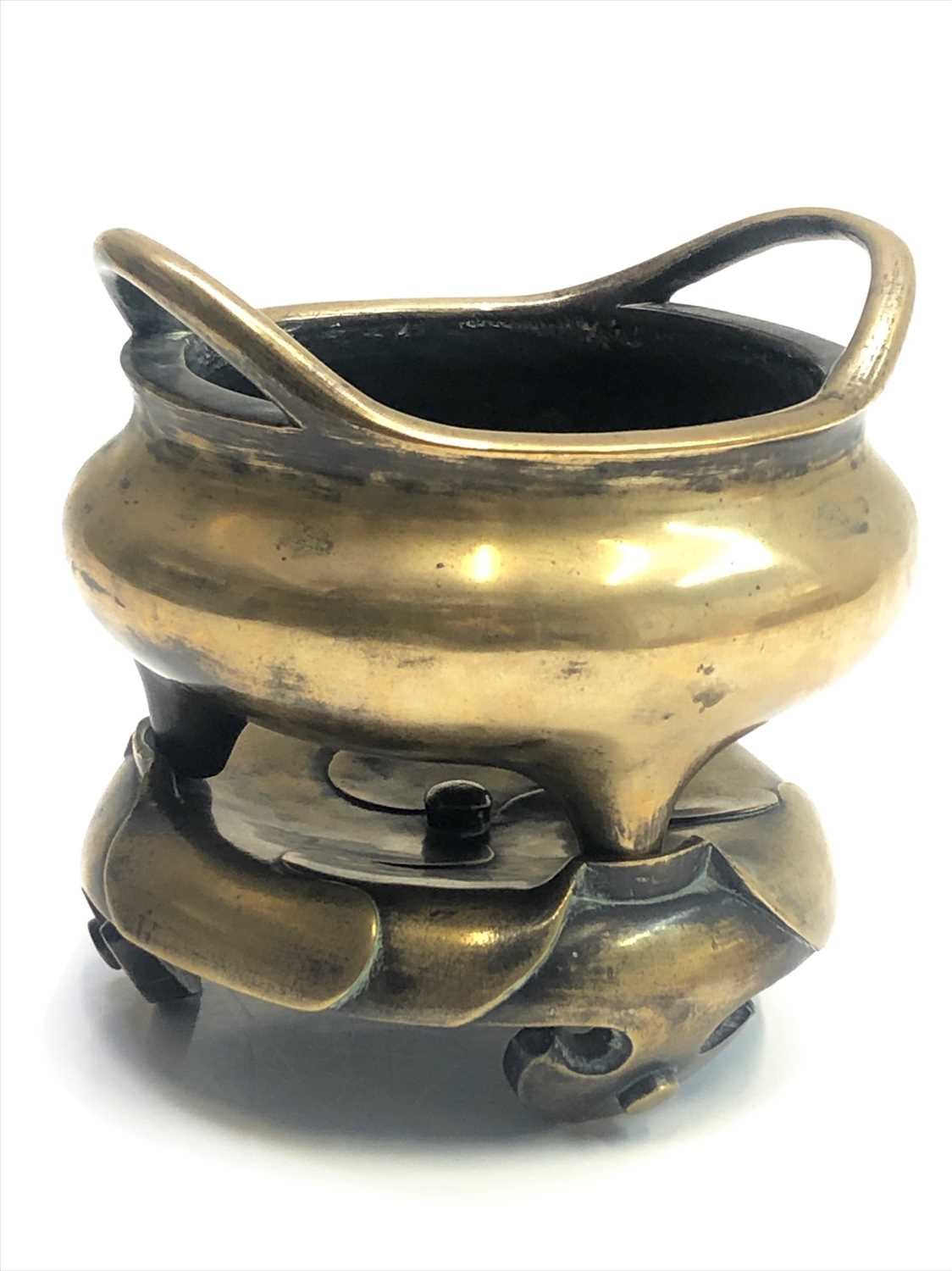 Lot 3-A Chinese bronze tripod censer and stand, 18th...