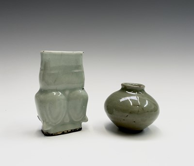 Lot 318 - A Chinese longquan celadon incense tool vase,...