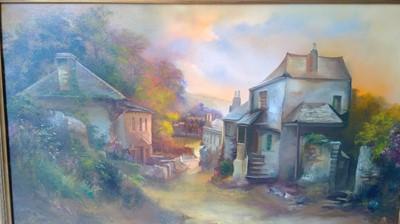 "Lot 1 - J Pope, ""Bodiniak"" framed oil on canvas signed..."