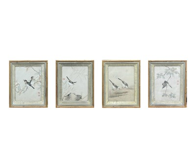 Lot 324 - Four Chinese paintings of birds on silk, 19th...