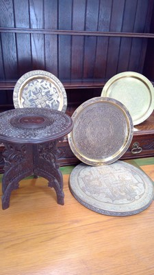 Lot 4 - A brass cairoware charger, two other brassware...