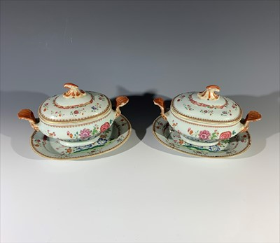 Lot 5-A pair of Chinese famille rose sauce tureens and...