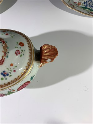 Lot 5-A pair of Chinese famille rose sauce tureens...