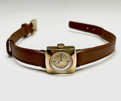 Lot 1 - A ladies square 18ct gold Omega wristwatch...