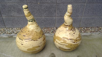 Lot 2 - A pair of large studio pottery vases, height...