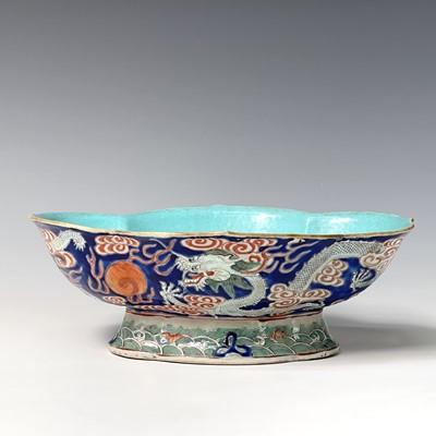Lot 322 - A large Chinese haitang shaped porcelain...