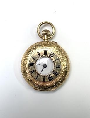 Lot 22 - An 18ct gold cased half-hunter keyless fob...