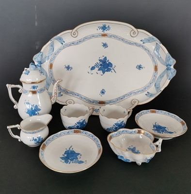Lot 12 - A Herend blue Chinese Bouquet fine china,...