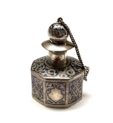 Lot 44 - A Russian silver bottle with niello decoration...