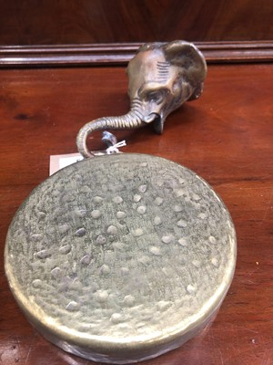 Lot 19 - A 20th century brass gong, the hanging bracket...