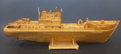 Lot 4 - A model of a ship made from matchsticks, 59cm...