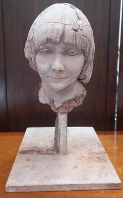 Lot 2 - Alec WILES (1924-2021)A pottery bust on metal...