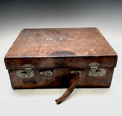 Lot 47 - A tan leather toilet case by A. Davis & Co 10...