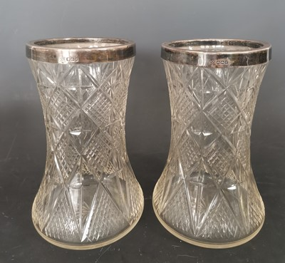 Lot 4 - A pair of antique cut glass vases with fully...