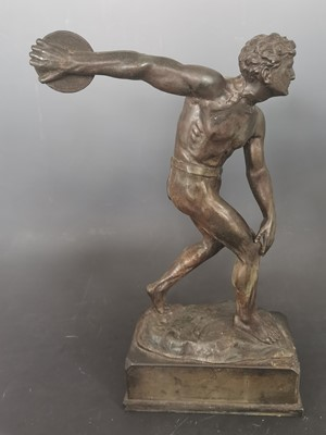 Lot 17 - A signed large antique spelter discus thrower...