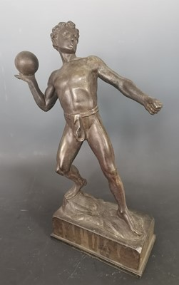 Lot 18 - A signed large antique spelter figure of an...