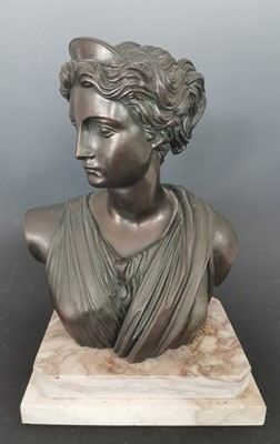 Lot 19 - A large bronzed bust of Artemis / Diana on a...