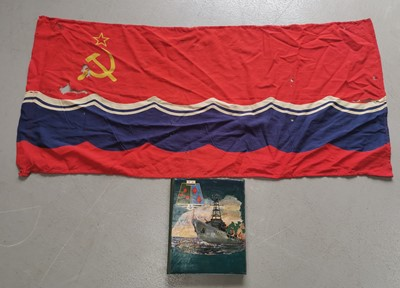Lot 21 - A Cold War Soviet Russian naval flag and photo...